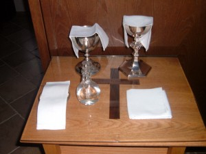 Vessels prepared for the Eucharist.