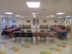The Parish Hall can seat more than 150 people for meals, parties, meetings.