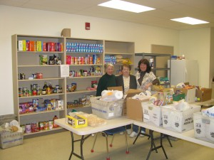 Pantry volunteers pose before a recent Wednesday session.