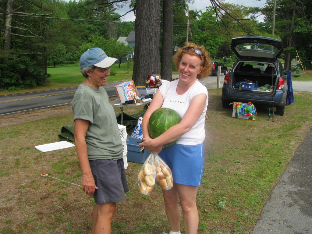 Nancy Stehno and Dani Bond-Ishak trades laughs over watermelon and rolls.