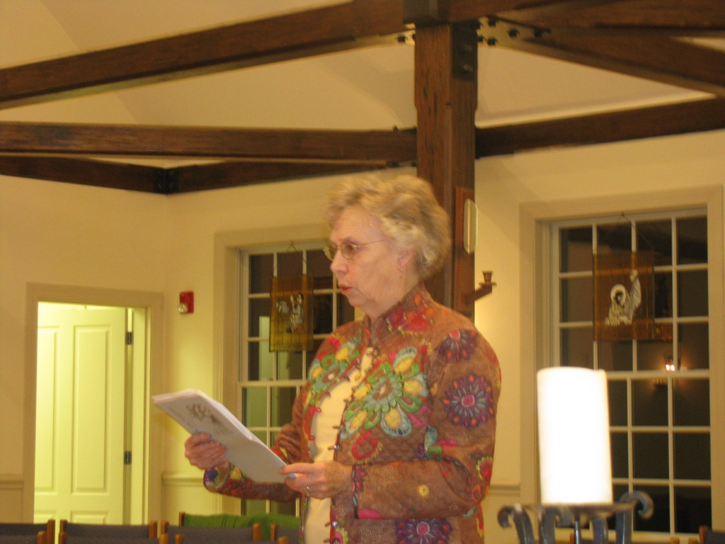 Marge Burke read three of her poems, some funny, some moving.
