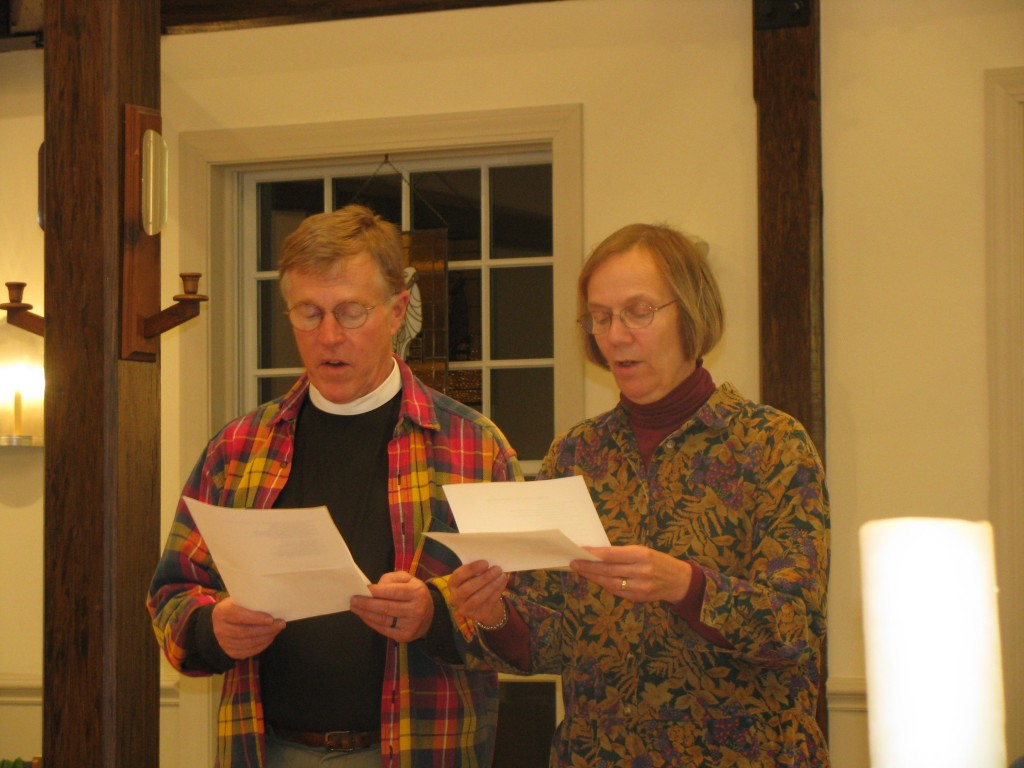 "Fr. John and Anne McCausland sang ""We Sing a Song of a Church in Weare"" to the tune of ""We Sing a Song of the Saints of God."""