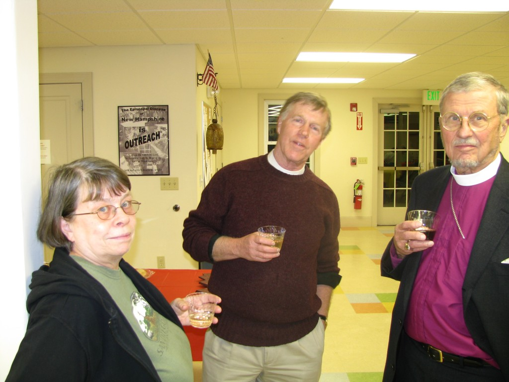 Pillars of the church relax: Susan Ruggle, Fr. John McCausland, Bishop Arthur Walmsley.